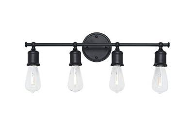 Homenovo Lighting Modern Industrial 3-Light Bathroom Vanity Light Fixture, Matte Black