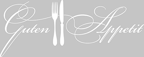 GRAZDesign Wandtattoo Küche Guten Appetit mit Besteck Küchen-Aufkleber für Wände, Schränke, Fliesen, Möbel für Restaurant und Bars (76x30cm//010 Weiss)