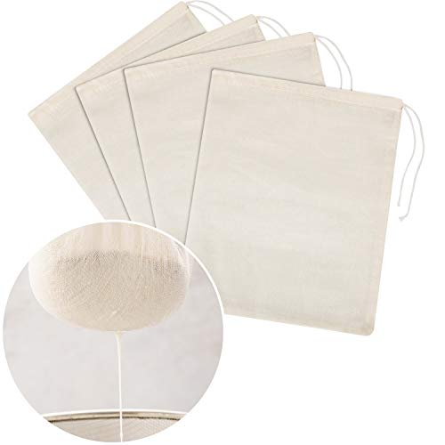 Tatuo 4 Pieces Cheesecloth Bags Nut Milk Strainer Cotton Muslin Bags Mesh Food Bags for Yogurt Coffee Tea Juice Wine Supplies (Medium (10 x 12 Inches))