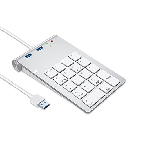 Teclado numérico inalámbrico, teclado numérico de 18 teclas NUMPAD, hub USB, teclado digital para portátil, PC, portátil y Surface Pro, etc.