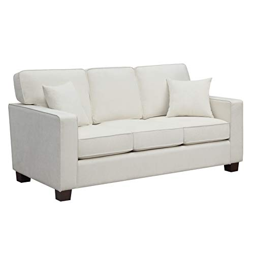 OSP Home Furnishings Russell 3 Seater Sofa with 2 Pillows and Coffee Finished Legs, Ivory