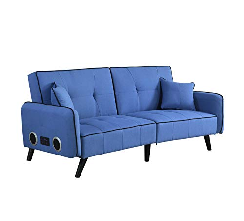 USB Convertible Bed Couch, Mid-Century Modern Sofa with USB Ports and Sturdy Wooden Legs & Bed Sofa, Living Room Couch, Fabric Sofa, Living Room Sleeper Futon (Blue)