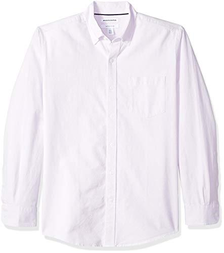 Amazon Essentials – Camisa Oxford lisa de manga larga de corte recto para hombre, Morado (Lavender Lav), US M (EU M)