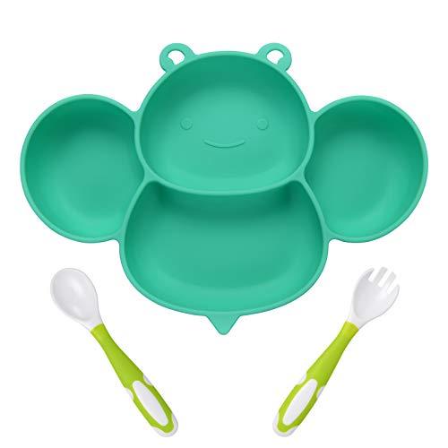 Vicloon Baby Teller, Baby Tischset Rutschfest Silikon mit Saugnäpfen und Biegsamen Löffel+Gabel, BPA-Freie, Kann in der Spülmaschine und Mikrowellem, Kinderteller für Kleinkinder und Kinder - Biene