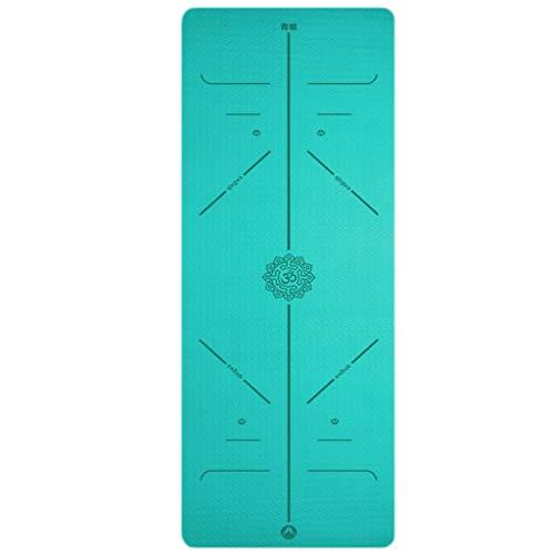 Esterilla de yoga para ejercicio femenino ensanchada y engrosada para principiantes, manta de yoga y yoga alargada, antideslizante para el hogar (color: cian, tamaño: 183 x 66 x 6 mm)