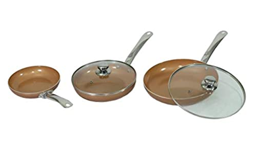 MAXELLPOWER Juego DE 3 SARTENES 2 Tapas Color Cobre Copper Pan Apto para Horno Mango Acero