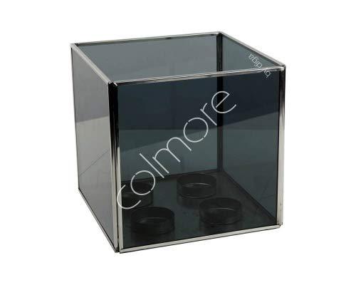 Colmore Teelichthalter Windlicht Glas Schwarz Edelstahl Designer Modern Quadrat Tisch 4