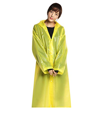Adult Raincoat Recycled Rain Jacket Long Cardigan Waterproof Hooded Outerwear Rainwear Lonshell Women Cycling Rain Poncho Mens Lightweight Outdoor Hiking Rain Cape (Yellow)