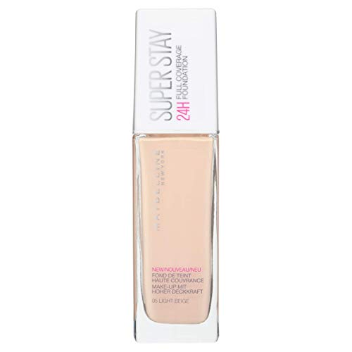 Maybelline New York Make Up, Super Stay 24h Make-Up, Flüssige, langanhaltende Foundation, Nr. 05 Light Beige, 30 ml