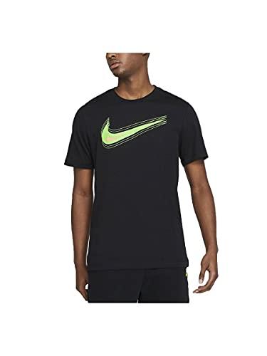 Nike M NSW Tee Swoosh 12 Month T-Shirt, Black/(Mean Green), XS Uomo