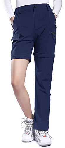 Hiauspor Women's Convertible Hiking Pants Lightweight Zip Off Pants Quick Dry Outdoor Stretch Pants UPF 50+(Navy,Medium)