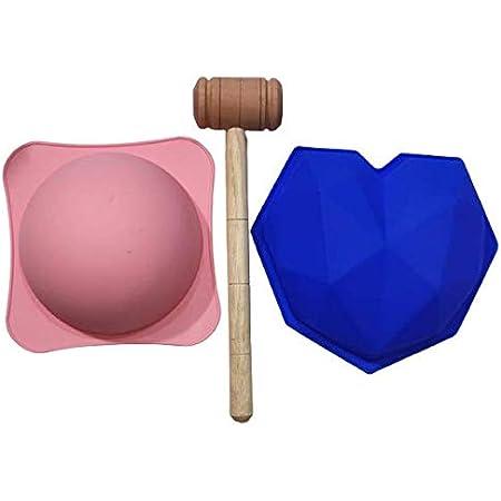 Royale Mesum Pinata Geometrical/Diamont 1 Heart Shape & 1 Round Pinata Mould ChocolateCake Mould with 1 Hammer