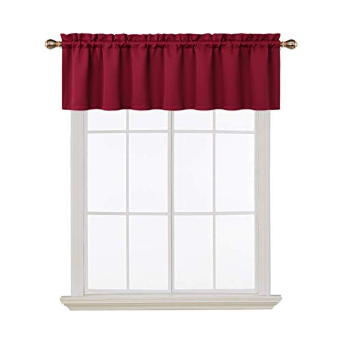 Blackout Valances for Windows Living Room Kitchen Bedroom Thermal Insulated Window Valance Curtains (Burgundy Red, 52x15 Inches)