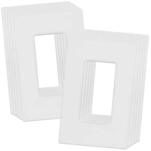ENERLITES Screwless Decorator Wall Plates Child Safe Outlet Covers, Size 1-Gang 4.68' H x 2.93' L, Unbreakable Polycarbonate Thermoplastic, SI8831-W-10PCS, Glossy, White (10 Count)