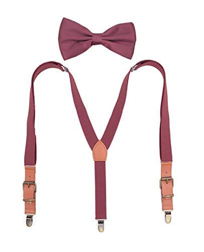 Unisex Conjunto Tirantes y Pajarita - Adulto 3 Clips Suspenders Ajustables Elásticos...