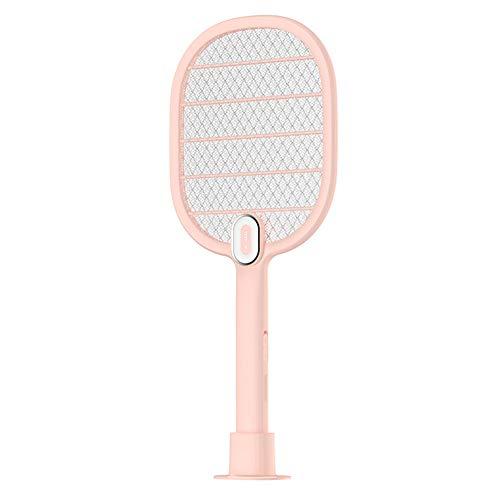 IGRNG Usbrechargeable Mosquito Shot, 4100 Volt - Dreischichtiger Schutzgitter-Doppelsicherheitsschalter, Superhelles LED-Licht zum Zap in The Dark - Berührungssicher,Pink