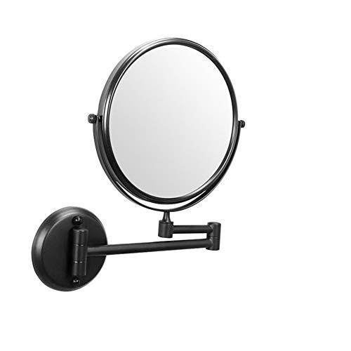 Miroir Mural Maquillage, 8 Pouces 3X Loupe Pliante grossissant Miroir Recto-Verso de Bain Rond Miroir à 360 ° pivotant du Bras Extensible (Size : Black)