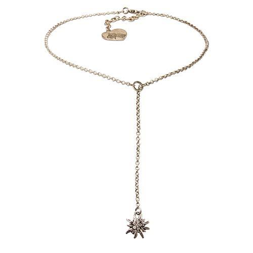 Alpenflüstern Trachten-Y-Halskette Edelweiss - Damen-Trachtenschmuck Dirndlkette antik-Silber-Farben DHK232