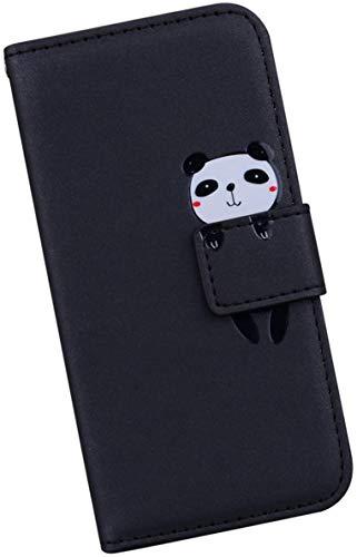 Ysimee Compatible avec Coque Huawei Honor 8X Animaux Mignon Dessin Animé Etui à Rabat Portefeuille en Cuir PU Housse avec Porte-Carte Poche et Fonction Stand,Fermeture Magnétique Flip Case-Panda,Noir