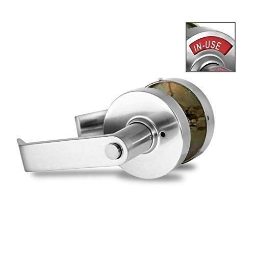 VIZILOK ADA Compliant Privacy Lock C5FN-L - Commercial Grade Left Handed Non Reversible in USE or Vacant Indicator Push Button Lock and Lever - Satin Nickel