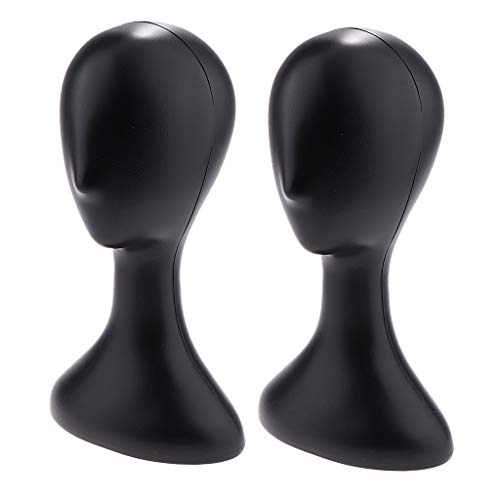 F Fityle 2pcs Unisex MANIQUÍ Head Hat Holder Peluca Toupee Display Manikin Stand Negro