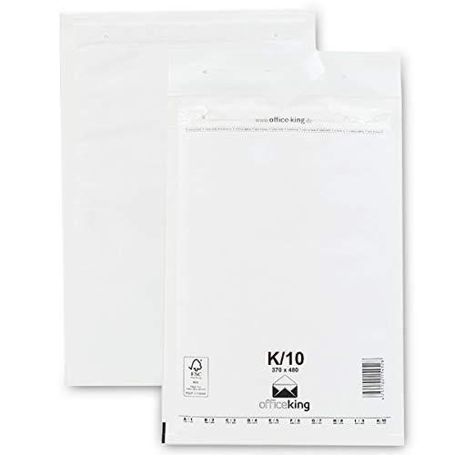OfficeKing 50 Luftpolsterumschläge K10 weiss 370x480mm DIN A3+ (10 Größen wählbar) Luftpolster Verpackung Polsterumschläge Briefumschläge gepolstert