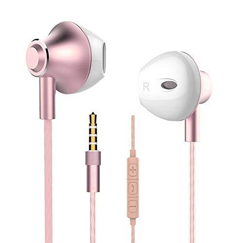 In Ear Kopfhörer,Stereo Ohrhörer mit Mikrofon und Fernsteuerung 3,5 mm Kopfhörer Noise Cancelling Bass-So& für Phone Samsung Huawei Xiaomi (Rose,2 Pack)