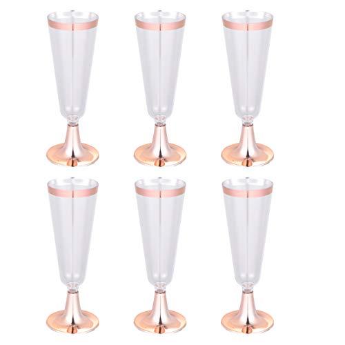 TOYANDONA Plastik Champagner Flöten Champagner Tassen Gläser mit Glitzer Rand Plastik Weingläser für Hochzeitsbankett Partyzubehör| 150 Ml 6 Stück