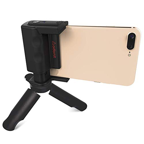 adonit PhotoGrip Bluetooth-Kamera-Auslöser-Fernbedienung, Reise-Set inkl. Mini-Stativ und Tragetasche für iPhone X/iPhone 8/Plus/Samsung Galaxy S9/Plus/S8/Plus/S7/Samsung Edge Note 8/9