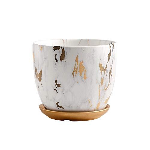 Vasi in Ceramica, Vasi da Fiori Marmorizzazione Arti, Vasi di Piante for Interni con Vassoi (Color : Golden, Size : 18 * 18 * 15cm)