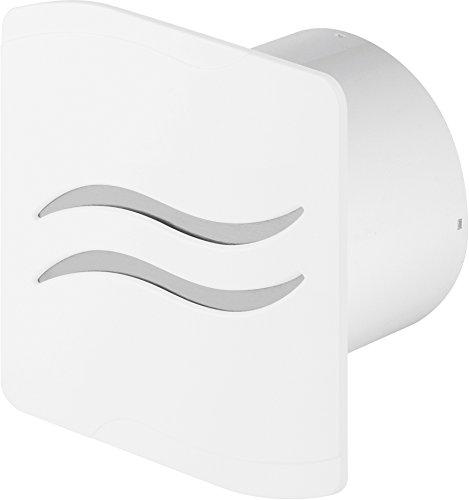 Design Badventilator Ø 100 mm Hochglanz weiß mit Feuchtigkeitssensor Hygrostat sowie Timer Nachlauf und Rückstauklappe WSB100H Lüfter Ventilator Front Wandlüfter Badlüfter Ventilator Einbaulüfter Bad Küche leise 10 cm