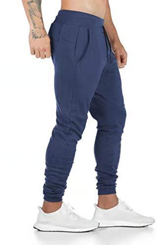 Yuson Girl Pantaloni Uomo Lunghi Jogging tasconi Cintura Elastica in Cotone Pantalone Sportivo per Palestra Corsa Pantaloncini Lunghi con Tasca con Zip Stile Casual Tinta Unita