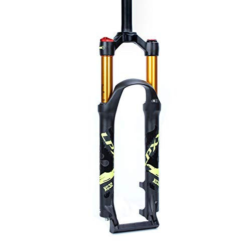 Xiami Front Suspension Fork for Mountain Bike 26/27.5/29 Inch Air Forks 120mm Stroke Manual/Remote Lockout Black+Gold Tube+Green Sign (Color : Manual, Size : 29')
