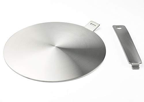 Runzi - Adattatore a induzione, disco convertitore per piastra di cottura a induzione, piastra di diffusione di calore, con manico e base separabili, 14 cm