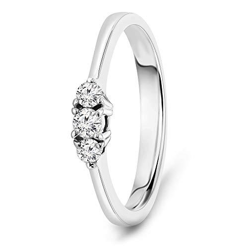 Miore Ring Damen 0.15 Ct Diamant Trilogie Verlobungsring aus Weißgold 18 Karat / 750 Gold, Schmuck