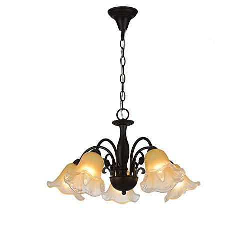Lámparas colgantes de forma de flor de metal de cristal colgante luces E14 × 5, sin bombilla colgante altura ajustable L55 cm, negro dormitorio/comedor/sala de estar/sala de estar/tienda