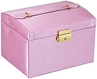 HUNACA Makeup Organizers | Leather Multi-Layer Jewelry Box Drawer Girls Earrings Necklace with Mirror Lock Storage Organizer Case Accessories Supplies