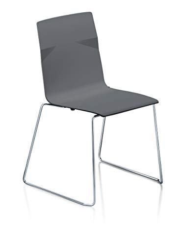 Sedus meet chair Stuhl, Designstuhl, Kufengestell, Wohnzimmerstuhl, Esszimmerstuhl Anthrazit 53 x 54 x 84 cm