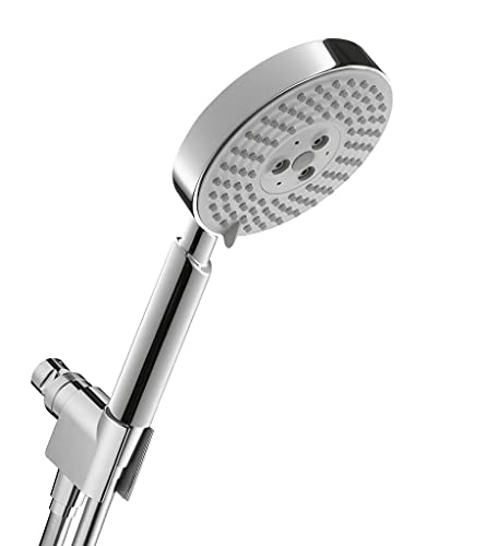 hansgrohe Raindance S Easy Install 5-inch Handheld Shower Head Set Modern 3 Spray RainAir, BalanceAir, Whirl Air Infusion with Airpower with QuickClean with Hose in Chrome, 2.5 GPM, 04187003