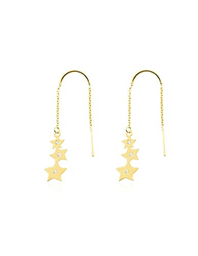 Dames & kinderen ketting sterren met zirkonia oorbellen - geel goud 9 karaat (375)