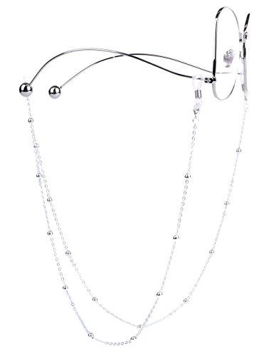 Mini Tree Brillenketten für Lesebrillen Perlen Brillenband Damen Lesebrille Brille Kette Sonnebrillen Band Cords Hals Cord Strap (Silber)