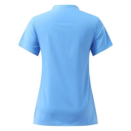 moonmisuni Nueva Camiseta de Enfermera de Manga Corta con Cuello en V para Mujeres Camiseta de proteccin con Botones Camisa de Trabajo de Enfermera con Bolsillos 017
