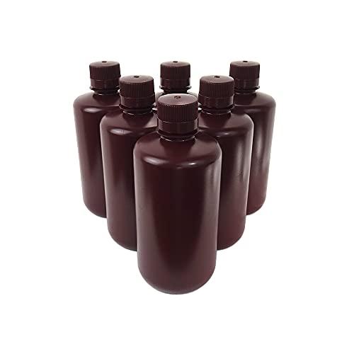 KENZIUM - Pack 6 x Frascos de HDPE con Tapa, Cuello Estrecho, de 1000 ml   Ámbar, Botellas Redondas Opacas, Boca Estrecha de Polipropileno, Para Laboratorio, Almacenamiento Muestras Sólidas y Líquidas