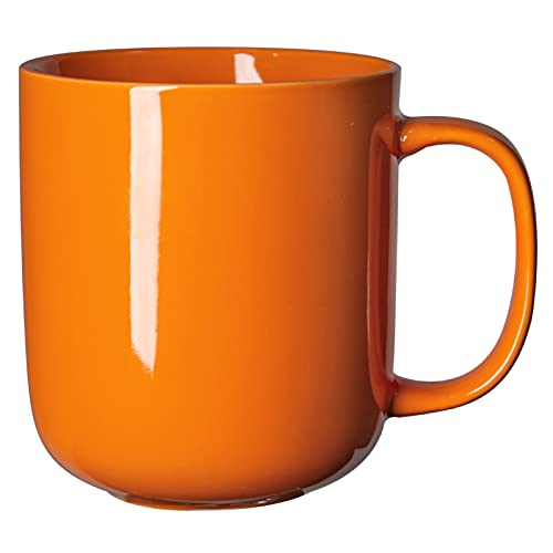 Large coffee tea mugs 20oz with handle for family or friends or holidays with gift package red yellow blue orange pink white grey brown, ten colors to choose (orange)