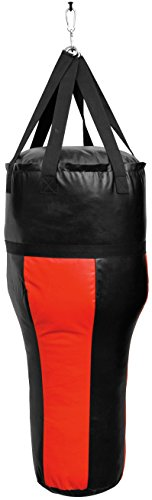 Sport-Thieme Boxsack Uppercut | Außenmaterial PU | Füllung: Textilreste | Inkl. Nylonaufhängung aus 6 vernähten Gurten | Gewicht: 35 kg | Länge: 120 cm | Farbe: Schwarz/Rot