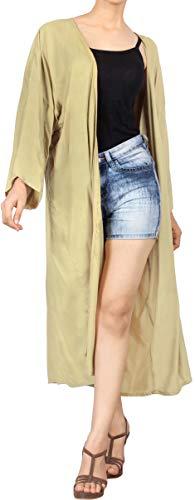 LA LEELA Largo De La De del Verano De Las Mujeres del Verano Que Cubre La Cubierta Superior De La Rebeca del sólida Kimono Llanura del MantóN De rayón Beige_A709