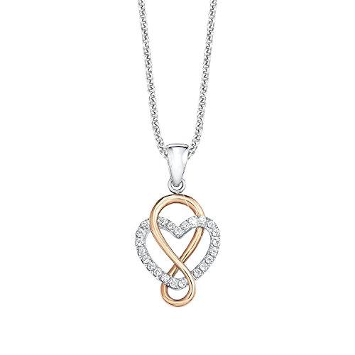 S.Oliver Damen Kette mit Herz und Infinity-Anhänger Bicolor 925 Sterling Silber teil-rosévergoldet und rhodiniert Zirkonia 42/45 cm weiß