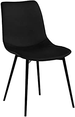 Armen Living Monte Dining Chair in Black Faux Leather and Black Powder Coat Finish,LCMOCHBLACK, Black