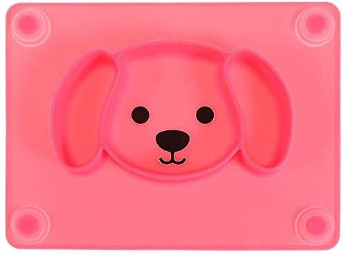 WOHAO Fête des Enfants de la Vaisselle Silicone Enfants Art de la Table, Ventouse Ménage Goutte Plaque épreuve Grille Arts de la Table Cartoon Bowl (Couleur: Vert) (Color : Red)