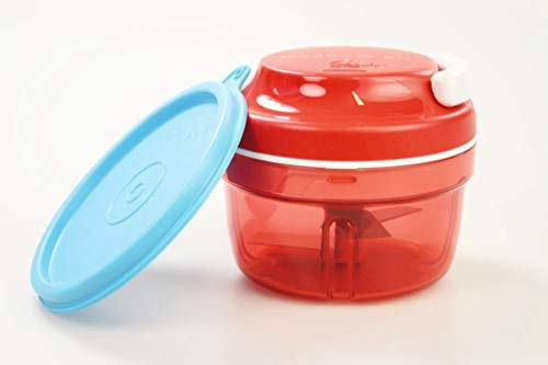 TUPPERWARE Chef Turbo-Chef rot Zwiebelschneider Speedy Boy + Deckel blau